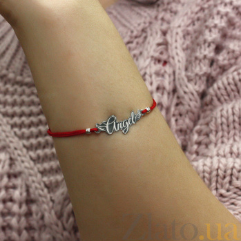 Шелковый браслет Angel в красном цвете с серебряной вставкой 000100177