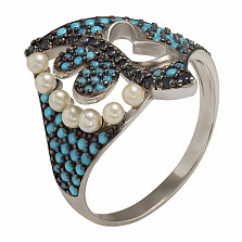 Серебряное кольцо Ночное рандеву Батерфляй