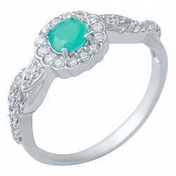 Серебряное кольцо с изумрудом и фианитами 000074617