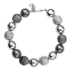 Серебряный браслет Шары с белым и черным родием 000059644