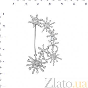 Серебряная брошь Танец снежинок с фианитами 000081985