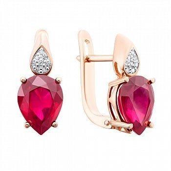Золотые серьги с рубином и бриллиантами 000146783