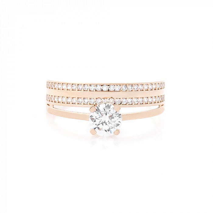 Золотое кольцо Рона с двойной шинкой и дорожками белых фианитов 000082411