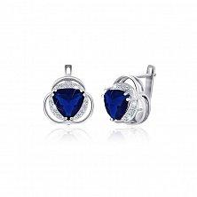 Серебряные серьги Персис с синими и белыми фианитами