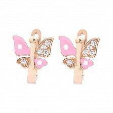 Золотые серьги Июльская бабочка с розовой эмалью и белыми фианитами