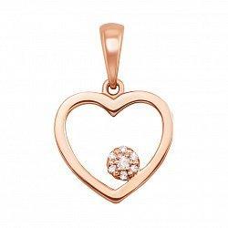 Кулон в красном золоте Сердце с бриллиантами