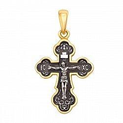 Серебряный крестик с позолотой и чернением 000132079
