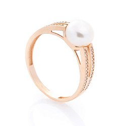 Золотое кольцо Сесиль с жемчугом и дорожками белых фианитов