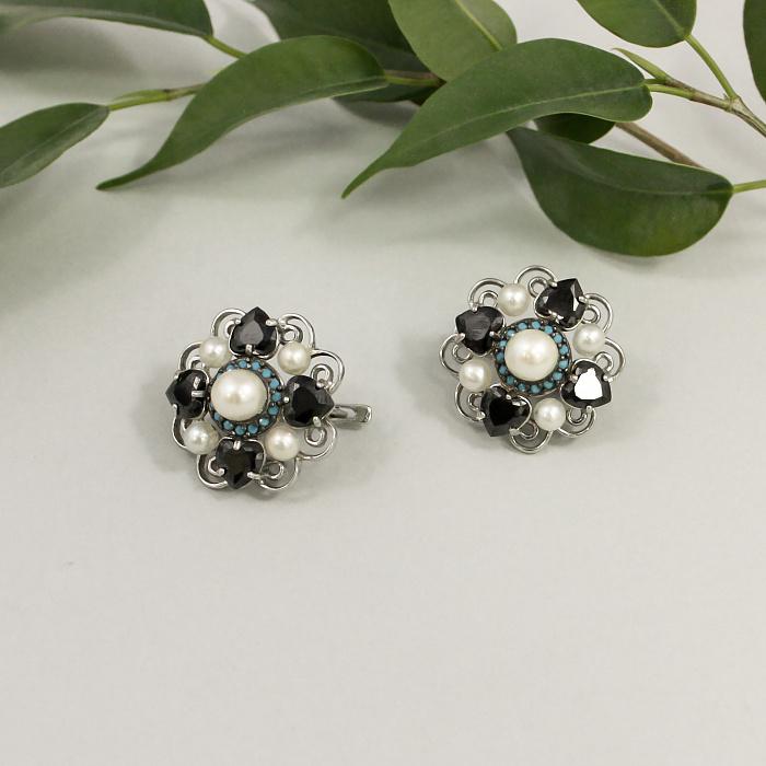 Серебряные серьги Ночное рандеву Натали TNG--420220С