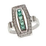 Серебряное кольцо с бриллиантами и изумрудами Сакварела