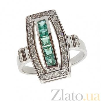 Серебряное кольцо с бриллиантами и изумрудами Сакварела 000027314
