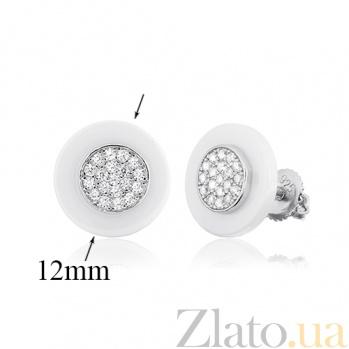 Серебряные серьги с керамикой и фианитами Адвика SLX--С2ФК1/1004