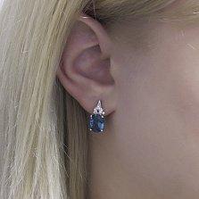 Серебряные серьги Сусанна с голубым кварцем и фианитами