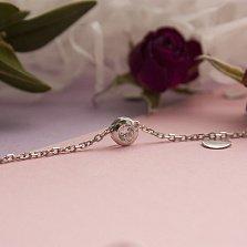Серебряное колье Проблеск с завальцованным кристаллом циркония