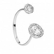 Серебряное разомкнутое кольцо Единство с белыми фианитами