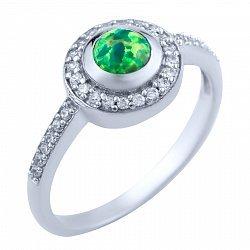 Серебряное кольцо с опалом и цирконием 000056183