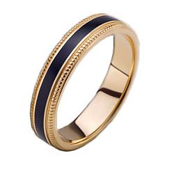 Мужское золотое обручальное кольцо Ночь жаркого лета с эмалью