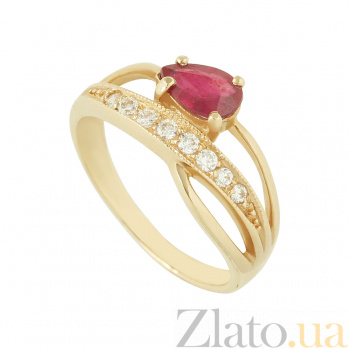 Золотое кольцо с рубином и фианитами Лидия 2К480-0237