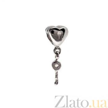 """Серебряная бусина с подвеской """"Сердце и ключ"""" AQA--231510038/5-1"""