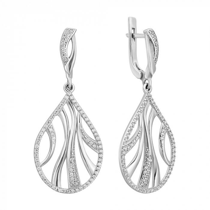 Серебряные узорные серьги-подвески Антея с белым цирконием 000082743
