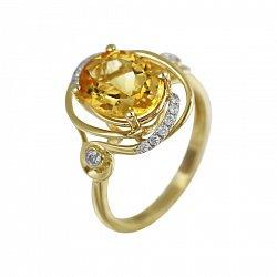 Кольцо из желтого золота Миранда с бриллиантами и цитрином
