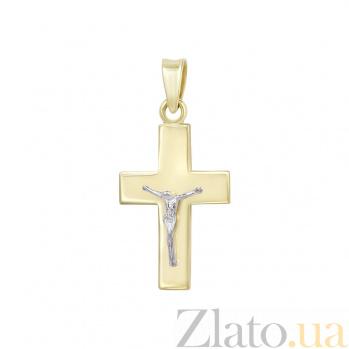 Золотой крестик Стойкость в комбинированном цвете 000098613