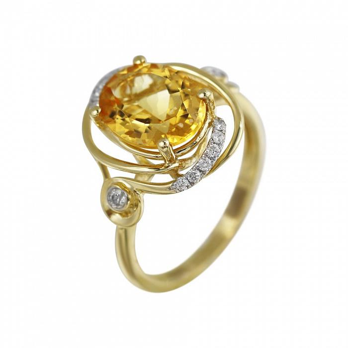 Кольцо из желтого золота Миранда с бриллиантами и цитрином 000080892