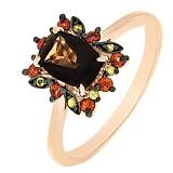 Золотое кольцо Фран с дымчатым кварцем и сапфирами