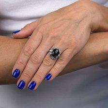 Серебряное кольцо Тайны красоты с черным ониксом и фианитами