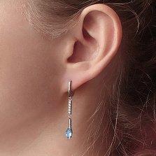 Серебряные серьги-подвески Миранда с кварцем под голубой топаз и фианитами