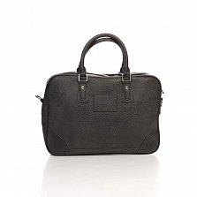 Деловая сумка из кожзама Genuine Leather 8060 черного цвета с отделением для ноутбука