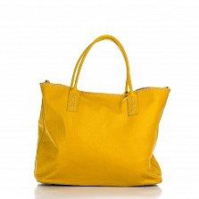 Кожаная сумка на каждый день Genuine Leather 8245 желтого цвета на молнии, с металлическими ножками