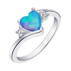Серебряное кольцо с опалом и фианитами 000139664