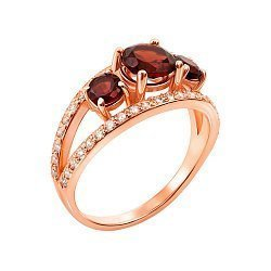 Золотое кольцо в красном цвете с гранатом и фианитами 000117167