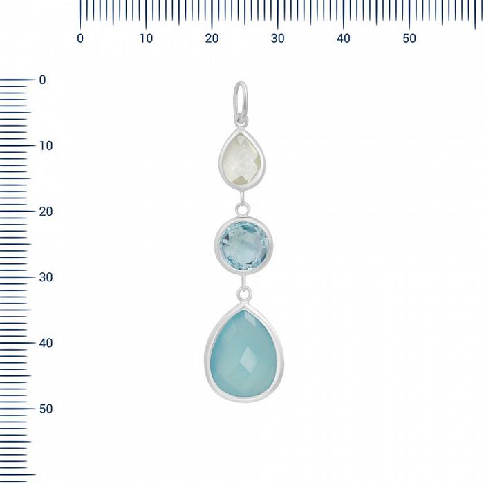 Серебряный подвес Сабина с топазом, кварцем и голубым халцедоном 000082030