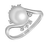 Кольцо из белого золота Кьяра с бриллиантами и жемчугом
