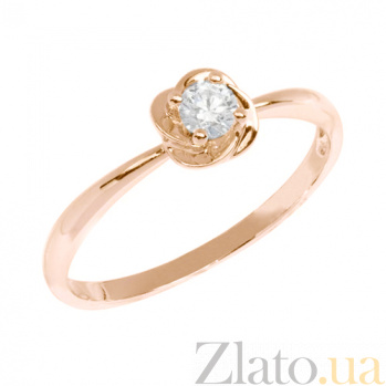 Кольцо в красном золоте Цветок с фианитом 000023163
