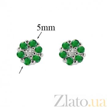 Серебряные серьги-пуссеты Селин с изумрудами и бриллиантами ZMX--EDE-6688-Ag_K