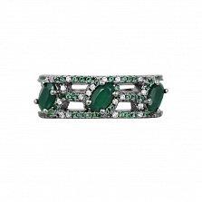 Серебряное кольцо Агнесса с халцедоном и фианитами