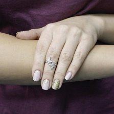 Серебряное кольцо Весна в душе с двумя бабочками в усыпке фианитов