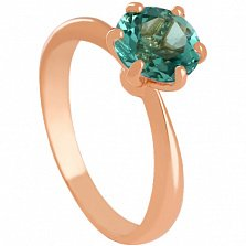Золотое кольцо Патрисия с синтезированным аметистом