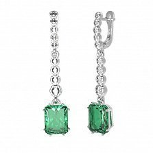 Серебряные серьги-подвески Адалин с зеленым кварцем и фианитами