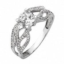 Золотое кольцо с белым цирконием Винценза