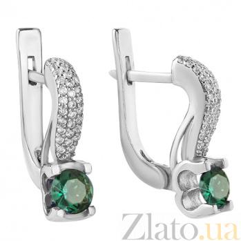 Серебряные серьги Флори с зеленым кварцем