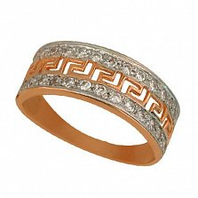 Золотое кольцо Меандр с цирконием