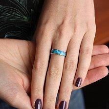Серебряное кольцо с синтезированным опалом Милори