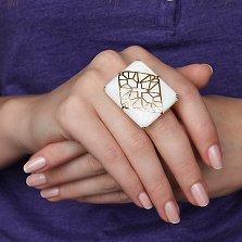 Золотое кольцо Магические узоры в евро цвете с перламутром