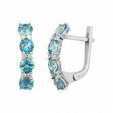Серебряные серьги Аэлита с голубыми топазами и кристаллами Swarovski