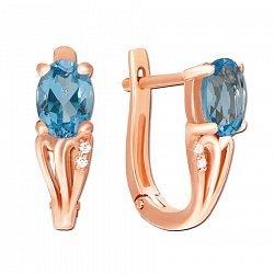 Серьги из красного золота с голубым топазом и фианитами 000137042