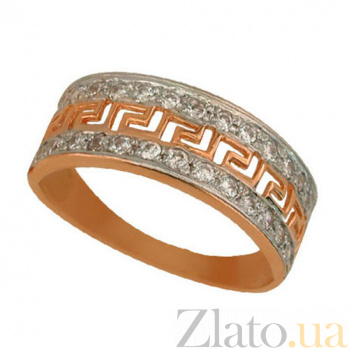 Золотое кольцо Меандр с цирконием VLT--Е1108